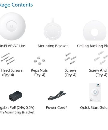 Ubiquiti UniFi UAP-AC-LITE Dual Radio Access Point Package Contents